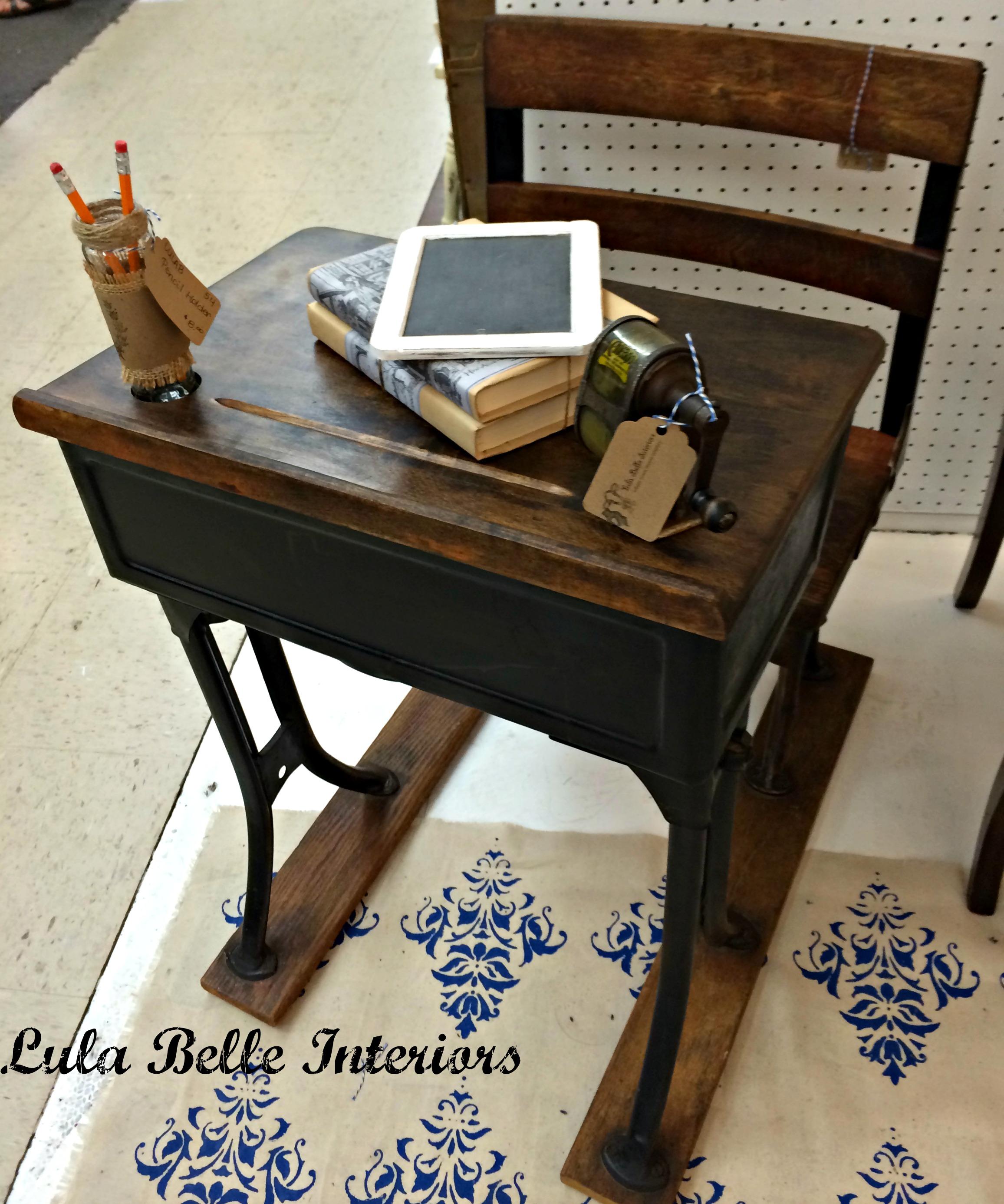 Vintage School Desk Painted